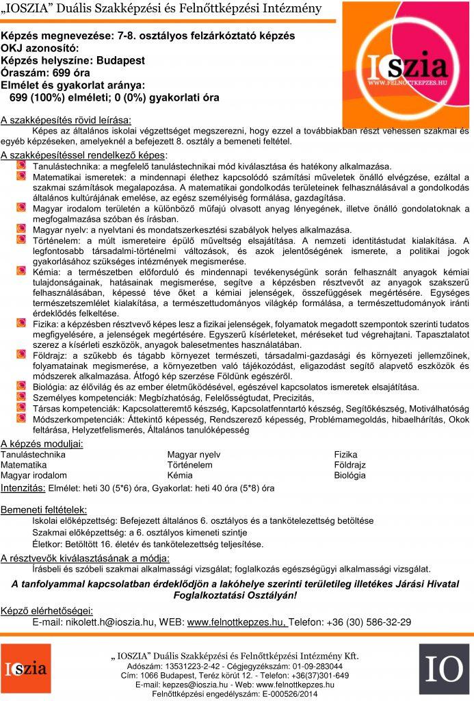 7-8. osztályos felzárkóztató képzés budapest-IOSZIA-felnőttképzés