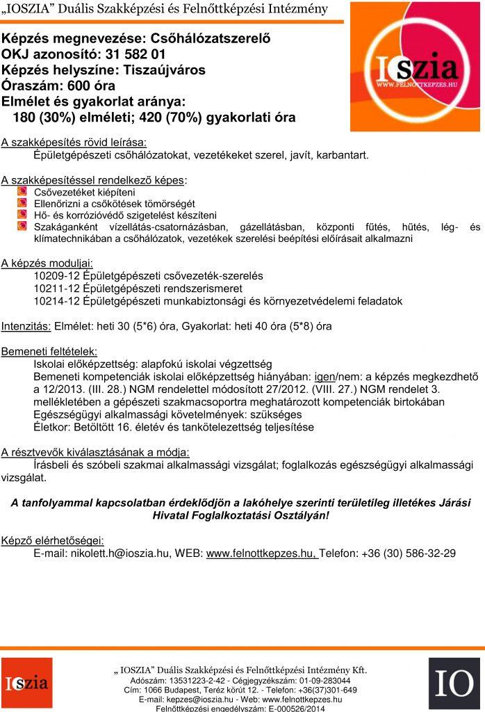Csőhálózatszerelő - Tiszaújváros - IOSZIA felnottkepzes.hu