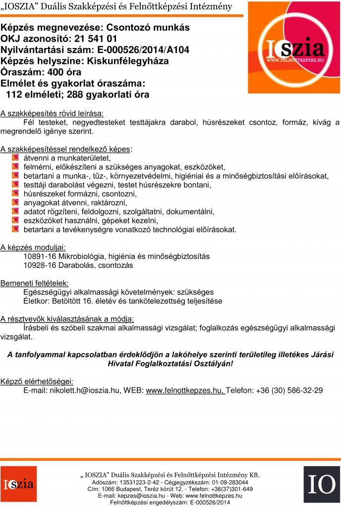 Csontozó munkás OKJ - Kiskunfélegyháza - felnottkepzes.hu Felnőttképzés - IOSZIA