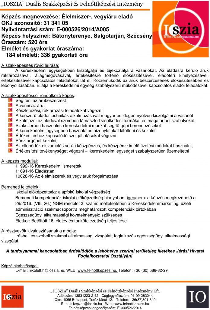 Élelmiszer- vegyi áru eladó OKJ - Bátonyterenye - Salgótarján - Szécsény - felnottkepzes.hu - Felnőttképzés - IOSZIA