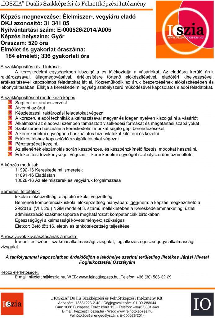 Élelmiszer-, vegyi áru eladó OKJ - Győr - Felnőttképzés - IOSZIA