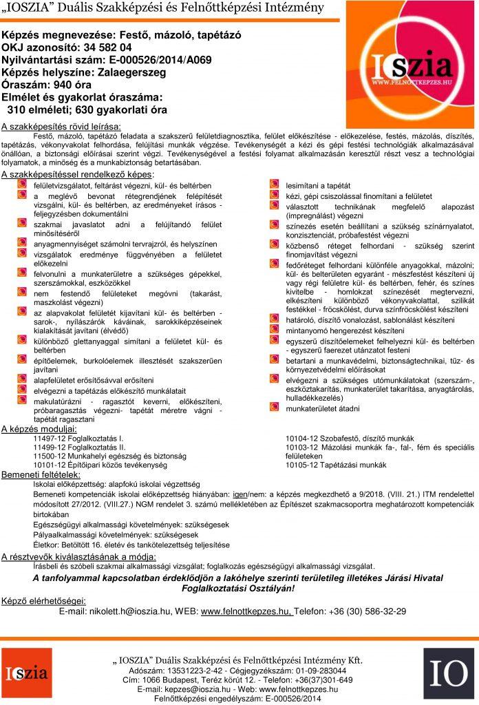 Festő, mázoló, tapétázó OKJ - Zalaegerszeg - felnottkepzes.hu - Felnőttképzés - IOSZIA