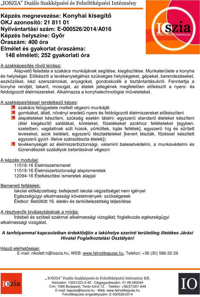 Konyhai kisegítő - Győr -Felnőttképzés - IOSZIA