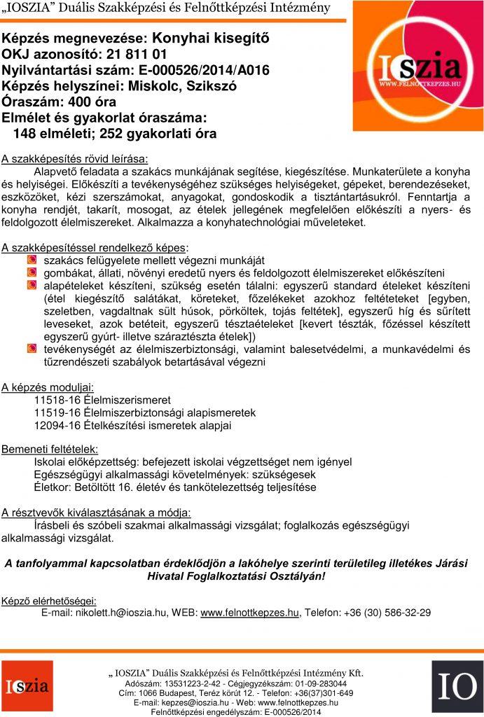 Konyhai kisegítő OKJ - Miskolc - Szikszó - felnottkepzes.hu - Felnőttképzés - IOSZIA