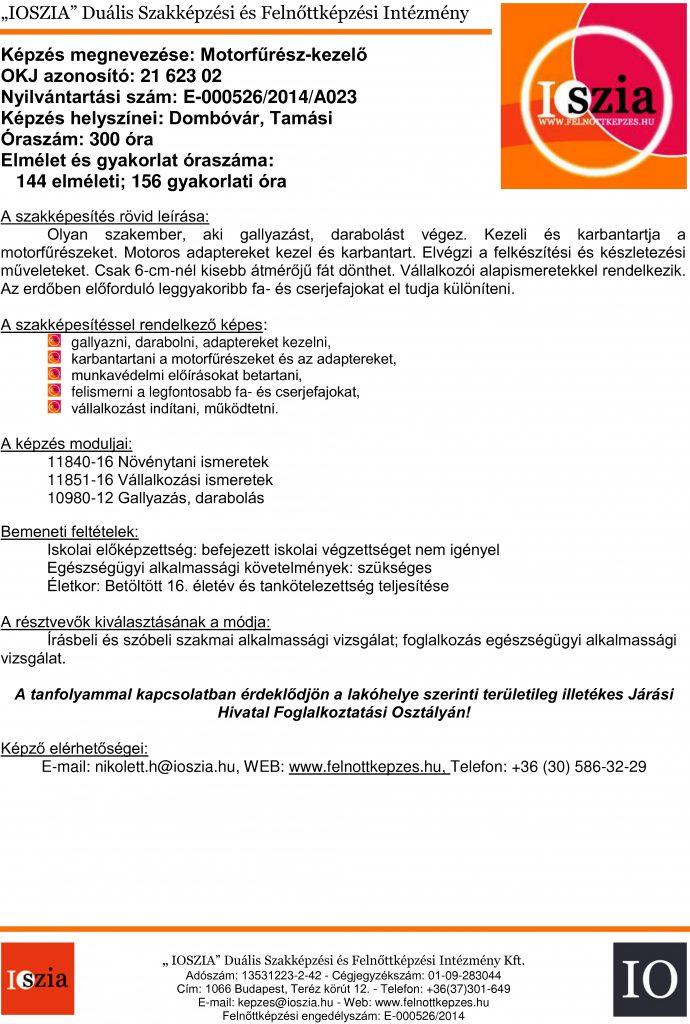 Motorfűrész-kezelő OKJ - Dombóvári - Tamási - felnottkepzes.hu - Felnőttképzés - IOSZIA