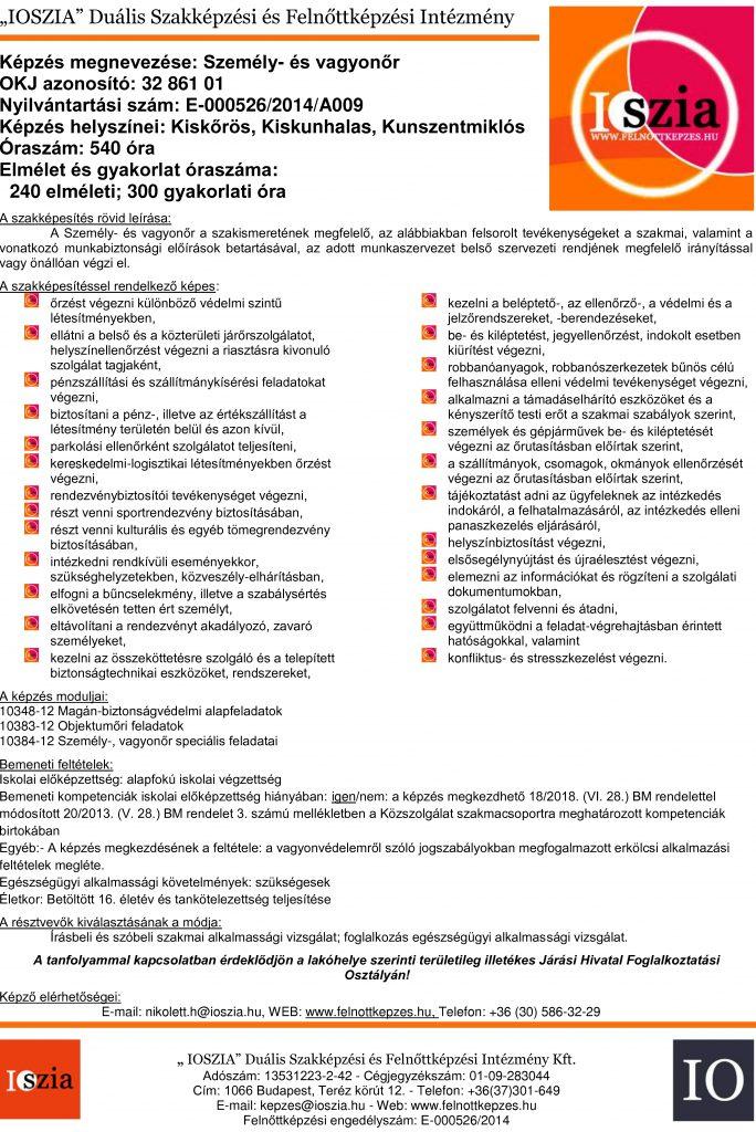 Személy- és vagyonőr OKJ - Kiskőrös - Kiskunhalas- Kunszentmiklós - felnottkepzes.hu - Felnőttképzés - IOSZIA