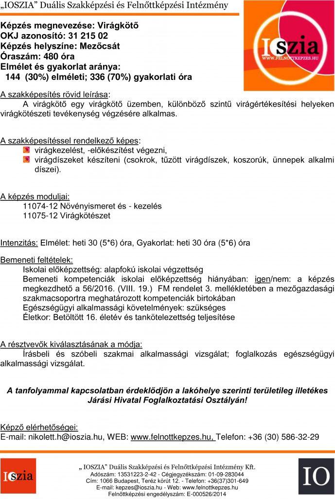 Virágkötő - Mezőcsát - IOSZIA felnottkepzes.hu